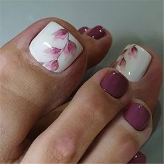 stylish and delicate toenails design example - Page 56 of 100 - Inspiration Diary Gel Manicure Designs, Toenail Art Designs, Pedicure Nail Art, Pedicure Nail Designs, Pretty Toe Nails, Cute Toe Nails, Toe Nail Color, Toe Nail Art, Feet Nail Design