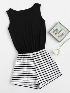 Striped Mix And Match Blouson Romper -SheIn(Sheinside) Teen Fashion Outfits, Girl Fashion, Girl Outfits, Casual Outfits, Cute Outfits, Womens Fashion, Fashion Trends, Fast Fashion, School Outfits