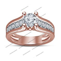 New Admirable Round Sim.Diamond 14K Rose Gold Plated 925 Silver Engagement Ring #SolitairewithAccents