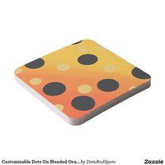 Customizable Dots On Blended OrangeToYellow Square Paper Coaster