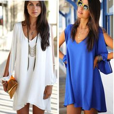 HOT plus size slit sleeve V-neck loose irregular mini chiffon dresses women summer dress 2015 new fashion casual dress vestidos Vestidos Chiffon, Vestidos Sexy, Dress Vestidos, Mini Vestidos, Chiffon Blouses, Chiffon Dresses, Chiffon Shirt, Summer Dresses 2014, Casual Summer Dresses
