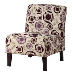 Linon Lily Slipper Chair with Purple Floral Design