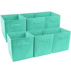 Foldable Storage Cube Basket Bin 6 Pack Aqua (Foldable Storage Cube Aqua) Blue(Fabric) - Basket Bin - Ideas of Basket Bin Collapsible Storage Cubes, Cube Storage, Storage Bins, Storage Containers, Storage Organization, Classroom Organization, Organization Ideas, Fabric Drawers, Cube Shelves