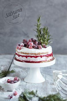 Weihnachtliche Cranberry Rosmarin Torte (Werbung)