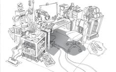 jimjam-art:  A few more pieces from Big Hero 6. Sharing some of the design process. The top is an image showing three of the machines I did for the University Tech Lab. We numbered each machine and where it would be placed. The next image is an up-shot of Abigail's Pod sequence. It used to be quite a bit bigger. The next image is a 3d Leg Printer for the Expo, and this mechanical arm is used again in a couple other places in the movie. Finally, an early version of Tadashi's desk. I'm…