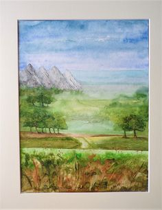 Watercolour, texture paste, acrylics and cerne relief to create a landscape you can escape into. Multimedia Arts, Texture Paste, Watercolours, Gouache, Acrylics, A4, Birds, Landscape, Create