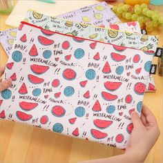 1pcs cute Fruit pudding pattern PU material waterproof File pocket for A4 paper or document office school supplies #Affiliate
