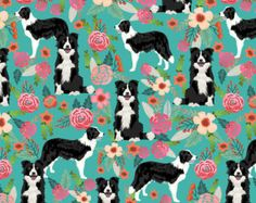 Green Floral Dog Fabric - Border Collie Best Cute Border Collies By Petfriendly - Cotton Fabric By The Yard With Spoonflower
