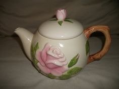 Ceramic White Tea Pot with Pink Roses by Ermasvintageattic on Etsy, $15.00