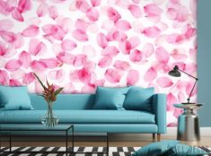 Floral Photo WALLPAPER MURAL Pink White Flower POSTER Wall ART Living Room Decor