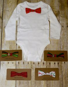 Youre little man will be sure to look extra handsome in this adorable bow tie onsie. The best part - the bow ties can be changed with a