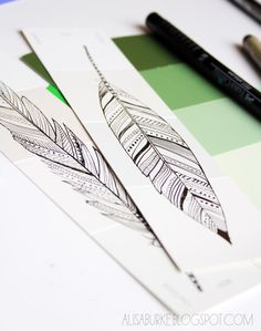 alisaburke: paint chip doodles make great accents on cards, bookmarks and so on....