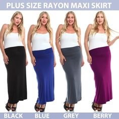 "Plus Size Classic Solid Rayon Maxi Stretchy Skirt NWT. Classic, soft, comfortable plus size maxi skirt in fashionable yet versatile colors. What every curvy girl needs in her wardrobe!  Made in USA.   Length from tip of waistband to bottom hem: 40"".   SIZE GUIDE:  1X: 14-16W, 35-37"" waist, 44-46"" hip.  2X: 18-20W, 39-41"" waist, 48-50"" hip.  3X: 22-24W, 43-45"" waist, 52-54"" hip.   Fabric Content: 95% Rayon, 5% Spandex Stylzoo Skirts"