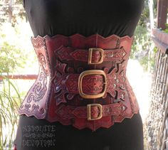 Ophelia  Steampunk Hand Tooled Hard Leather Underbust korset