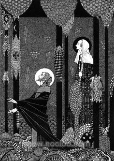 """1916 Harry Clarke illustration for The Marsh King's Daughter (HCA): """"He knelt down and prayed fervently"""""""