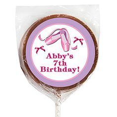 Our Ballet Beauty Milk Chocolate Lollipop has a pair of ballet slippers and bows that allow you to personalize with your custom text. #Ballerina