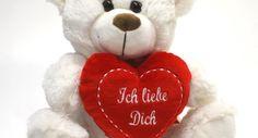 Eisbär Plüschbär Teddybär mit rotem Herz Ich liebe Dich, Größe ca. 25 cm