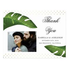 Chic Palm Leaves Tropical Wedding Thank You Postcard