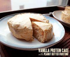 Vegan protein powder cake. 1slice w/o icing= 147kcal. w/ icing= 272kcal
