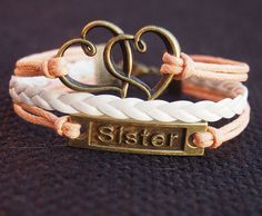 Sister bracelet, heart to heart charm leather bracelet, Bronze Color, Orange & White wax cord Braid Bracelet Personalized Jewelry for Her