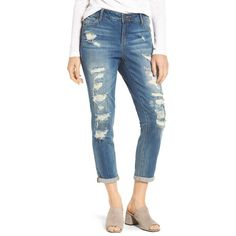 Women's Slink Jeans Distressed Ankle Boyfriend Jeans (6,350 INR) ❤ liked on Polyvore featuring jeans, chelsea, slim boyfriend jeans, distressed jeans, blue jeans, slim ripped jeans and ripped boyfriend jeans