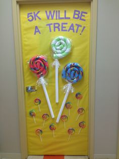 Sweet Welcome door; made with swim noodles and fun duct tape; added students' names to lollipops.