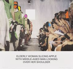 The News: Elderly Woman Slicing Apple..., 2014, by John Baldessari