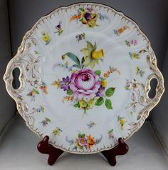 Dresden Porcelain (Germany) —   Handled Serving Plate or Platter Floral Motif  (1584x1600)
