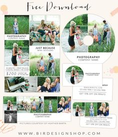 July freebie - Mini marketing set | Photoshop templates for photographers by Birdesign