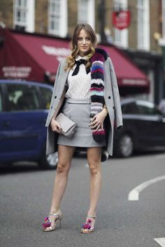 #RosieFortescue girly skirt and pussy bow blouse. London