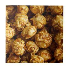 Caramel Popcorn Ceramic Photo Tile - photos gifts image diy customize gift idea