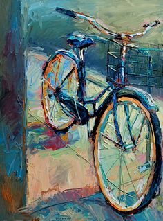 Caleb Meyer - Waiting Love this style of painting Bicycle Painting, Bicycle Art, Draw On Photos, Ap Art, Cycling Art, Artist Art, Painting Inspiration, Watercolor Art, Art Projects