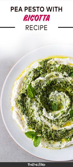 Blend peas with bright herbs and grated Parmesan to swirl into creamy ricotta for the perfect crostini topping.