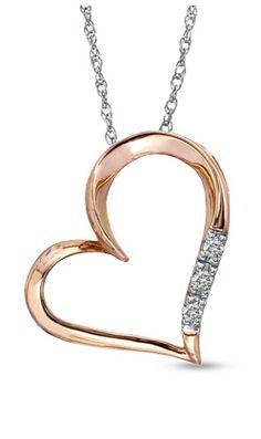 Rose gold & diamond heart