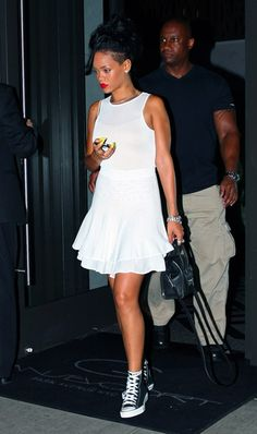 Whites Summer 2012- Take a cue from Rihanna and sport a flirty white dress with converse!