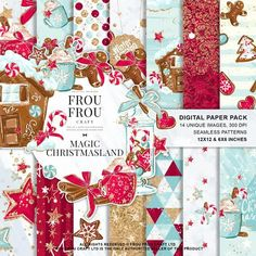 Cinnamon Candy Paper Pack by Frou Fou Craft on Hot Chocolate Xmas, Printable Stickers, Planner Stickers, Packs Papier, Pink Backdrop, Christmas Paper, Merry Christmas, Christmas Decor, Planner Supplies