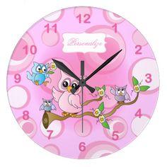 Personalize Pink Owl KidsClock