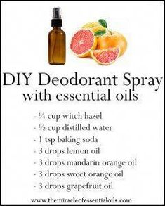 DIY Essential Oil Deodorant Spray Recipe - The Miracle of Essential Oils Diy Deodorant, Essential Oil Deodorant, Diy Natural Deodorant, Antibacterial Essential Oils, Deodorant Recipes, Essential Oil Spray, Best Essential Oils, Essential Oil Blends, Do It Yourself Upcycling