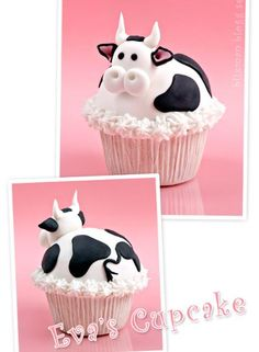 hehe cutest cow cupcake I have ever seen! Lots of great cupcakes on this site. Cupcakes Design, Cow Cupcakes, Tolle Cupcakes, Animal Cupcakes, Yummy Cupcakes, Cupcake Cakes, Pretty Cakes, Cute Cakes, Fancy Cakes