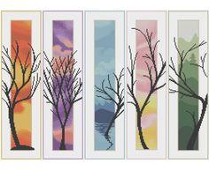 Five Trees Counted Cross Stitch Pattern X-Stitch PDF