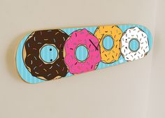 National doughnut (Donut) day - Skateboard wall clock - Icing donuts History: Each year on the first Friday in June, people participate in National Doughnut or Donut Day. This day celebrates the doughnut and honors the Salvation Army Lassies, the women that served doughnuts to soldiers during. #donut #usa #skate #skateboard #donutday #skateboarding #donuts