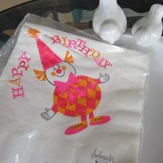 20 Vintage Ambassador Argyle CLOWN by DragonflyCottageShop Vintage Birthday Parties, Paper Napkins, Honeycomb, Party Supplies, 1970s, Hot Pink, Happy Birthday, Packaging, Invitations