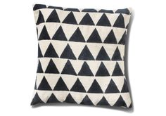 Bring some geometric geek chic to your home or office decor with this hand block printed pillow cover featuring an allover pattern of navy and white triangles.