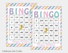 Your place to buy and sell all things handmade Birthday Party Games, Unicorn Birthday Parties, 80th Birthday, Unicorn Party, Birthday Party Decorations, Birthday Ideas, Happy Birthday, Bingo Card Template, Bingo Cards