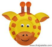 DIY Paper Plate Giraffe Craft. Visit http://www.firstpalette.com/Craft_themes/Animals/paperplateanimals/paperplateanimals.html for more animal ideas. A great way to create your own safari class theme.