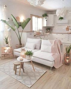 cozy living room Light, pastel colours automatically add a sense of elegance to a space. Living Room Decor Cozy, Home Living Room, Living Room Designs, Bedroom Decor, Small Condo Living, Studio Apartment Living, Modern Apartment Decor, Studio Apartment Decorating, Studio Living