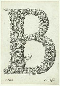 Letter 'B' ~ Jan Chrystian Bierpfaff and Jeremiasz Falck, There are all letters of the alphabet in the full post. Types Of Lettering, Lettering Design, Hand Lettering, Calligraphy Letters, Typography Letters, Illuminated Letters, Illuminated Manuscript, Image Digital, Vintage Typography