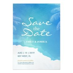Blue Watercolor Beach Wedding Save the Date Card - formal speacial diy personalize style template