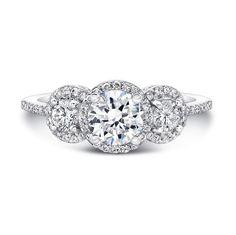 Natalie K - 14k White Gold Three Stone Diamond Engagement Ring NK15981-W