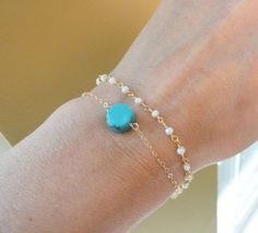 Delicate Turquoise bracelet, Pearl bracelet with turquoise dot, Stacked bracelets, gold bracelet, freshwater pearls, turquoise jewelry